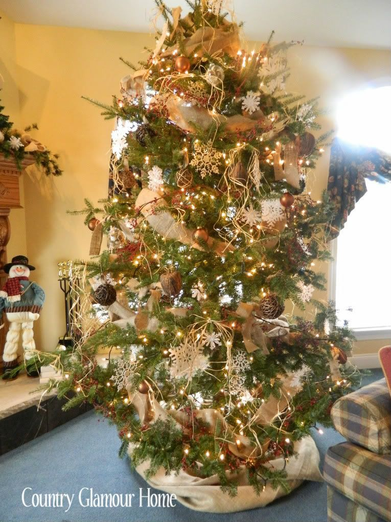 christmas trees decorated with burlap country glamour home our charlie brown christmas tree