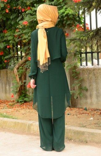 Sefamerve Tunik Pantolon Takim Fy 62288 04 Yesil Tunik Elbise Moda Stilleri