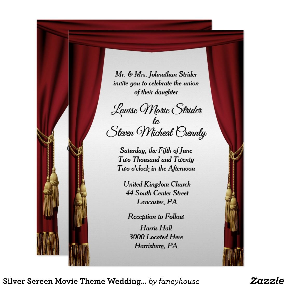 Silver Screen Movie Theme Wedding Invitation New and improved look ...