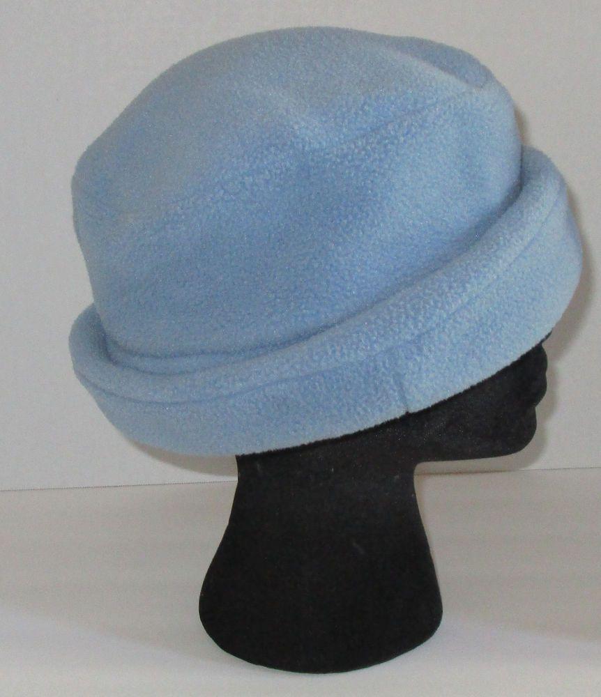 Lands End Hat S M Light Blue Fleece Bucket Cloche Winter Cold Weather  Womens  LandsEnd  Bucket  Winterweather 4b9c56b579a