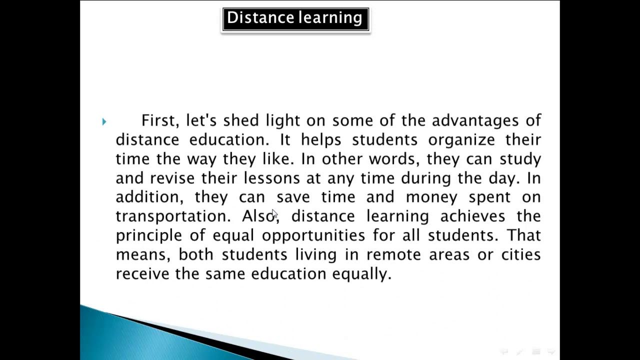 Paragraph About Distance Learning Advantages And Disadvantages مميزات وع Distance Learning Learn English Student Organization
