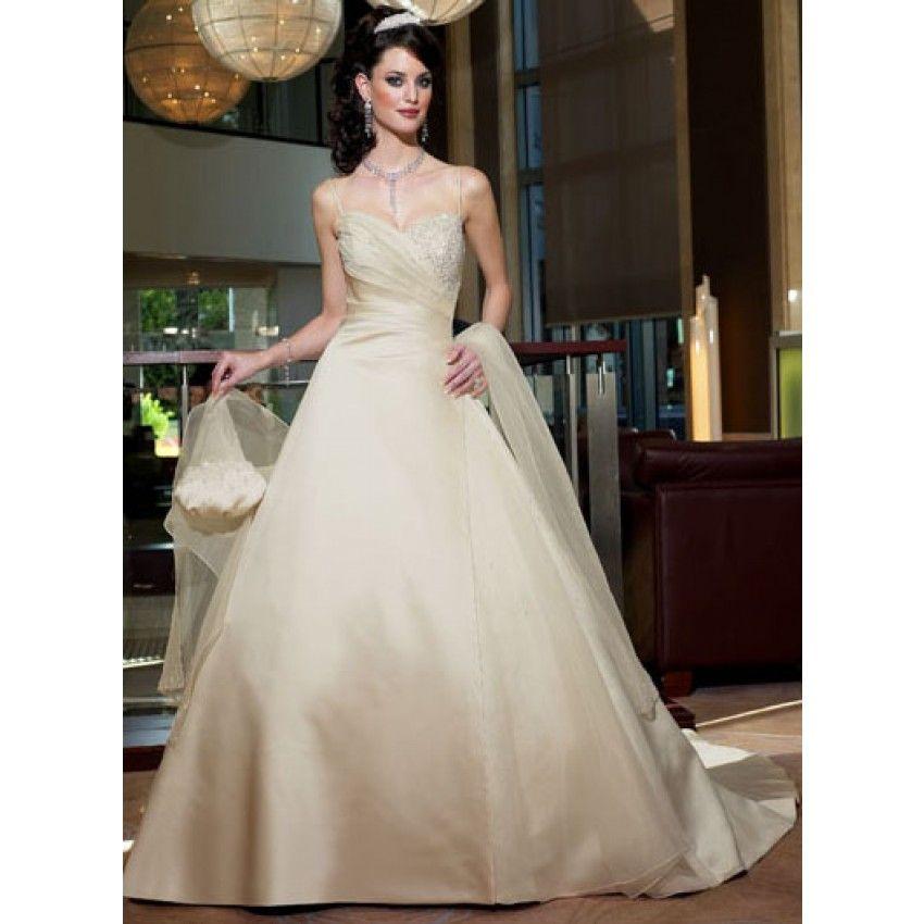 A-line Sweetheart Spaghetti strap Crystal Empire Floor-length Wedding Dresses - Discount Wedding Dresses - Wedding Dresses