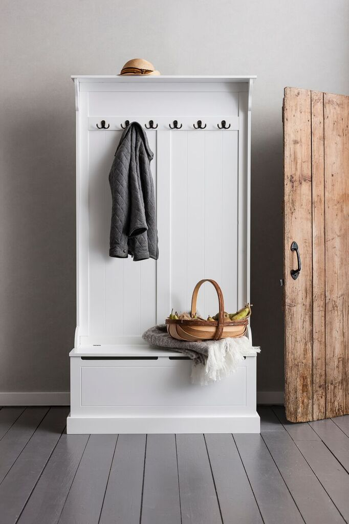 Brittany Hallway Bench And Coat Hook Shoe Storage In White