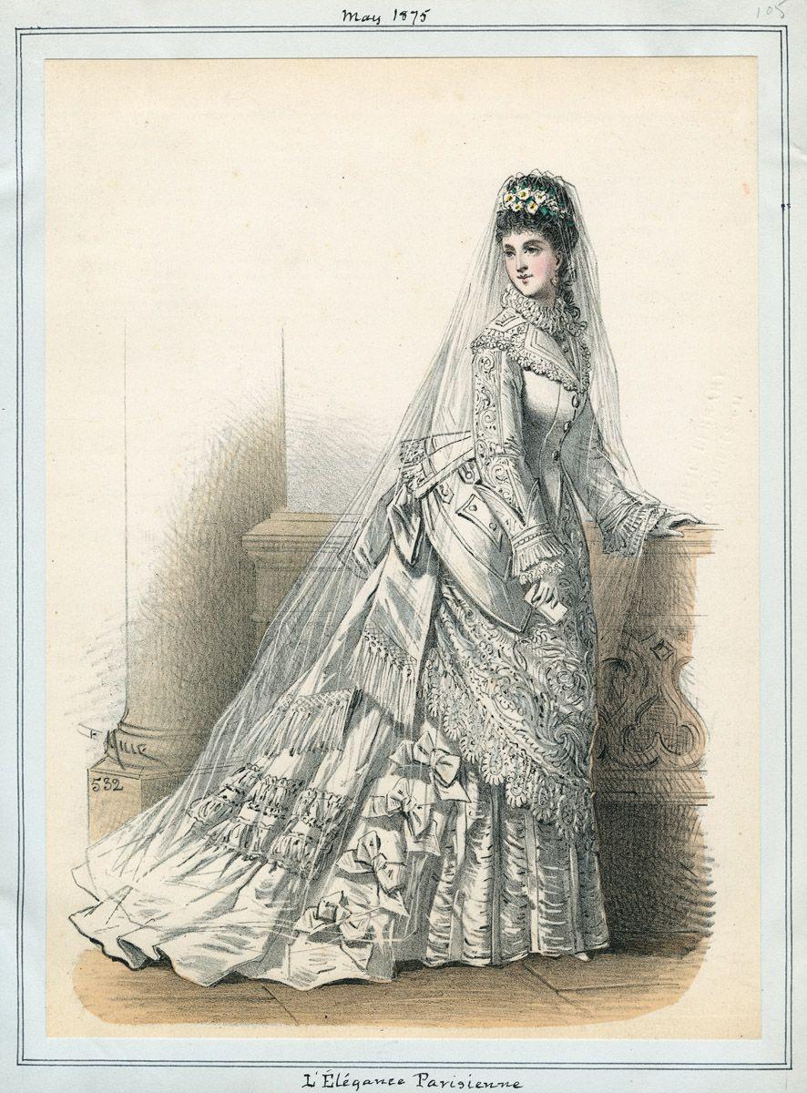 1875 l u0026 39 elegance parisienne fashion plate of a bride via los angeles public library