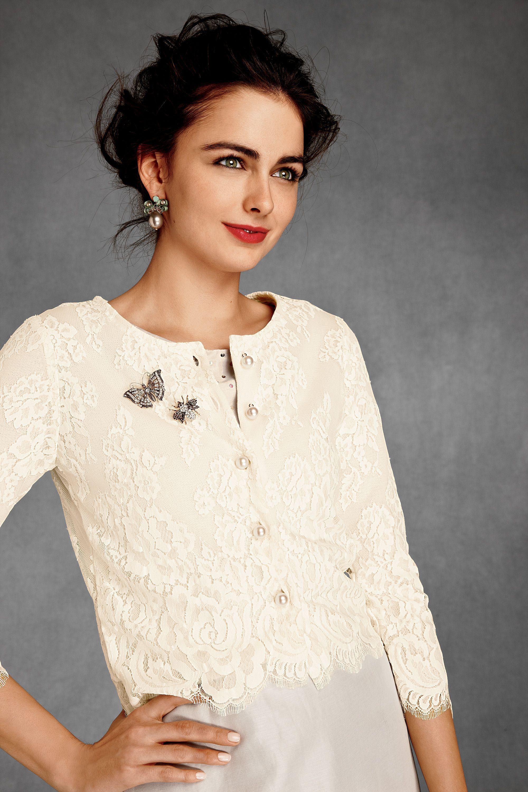Wedding dress cardigan  Hambleton Cardigan by Wendi Reed cashmere and cotton lace