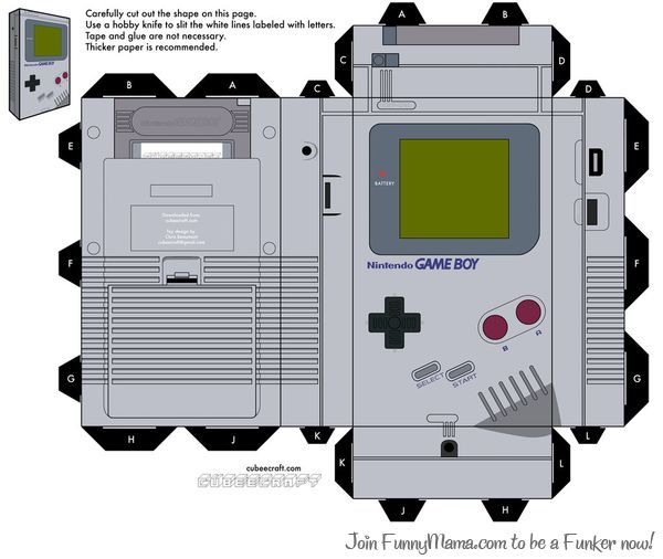 Now Make Gameboy Paper Toys Papercraft Templates