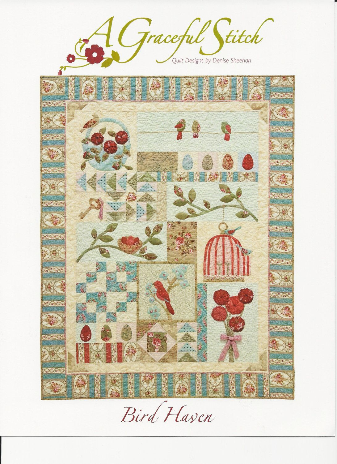 Bird Haven Quilt Pattern Set by Denise Sheehan via Etsy.