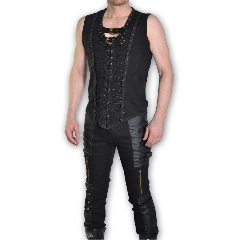 Stretch Lederhose Guardian mit Bändern | Gothic Male in 2019