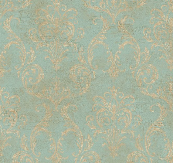 Wallpaper Antiqued Blue Gold Delia Damask With Fine Aged Le Grunge Robin Egg Victorian Country French By The Yard Gl4656 So