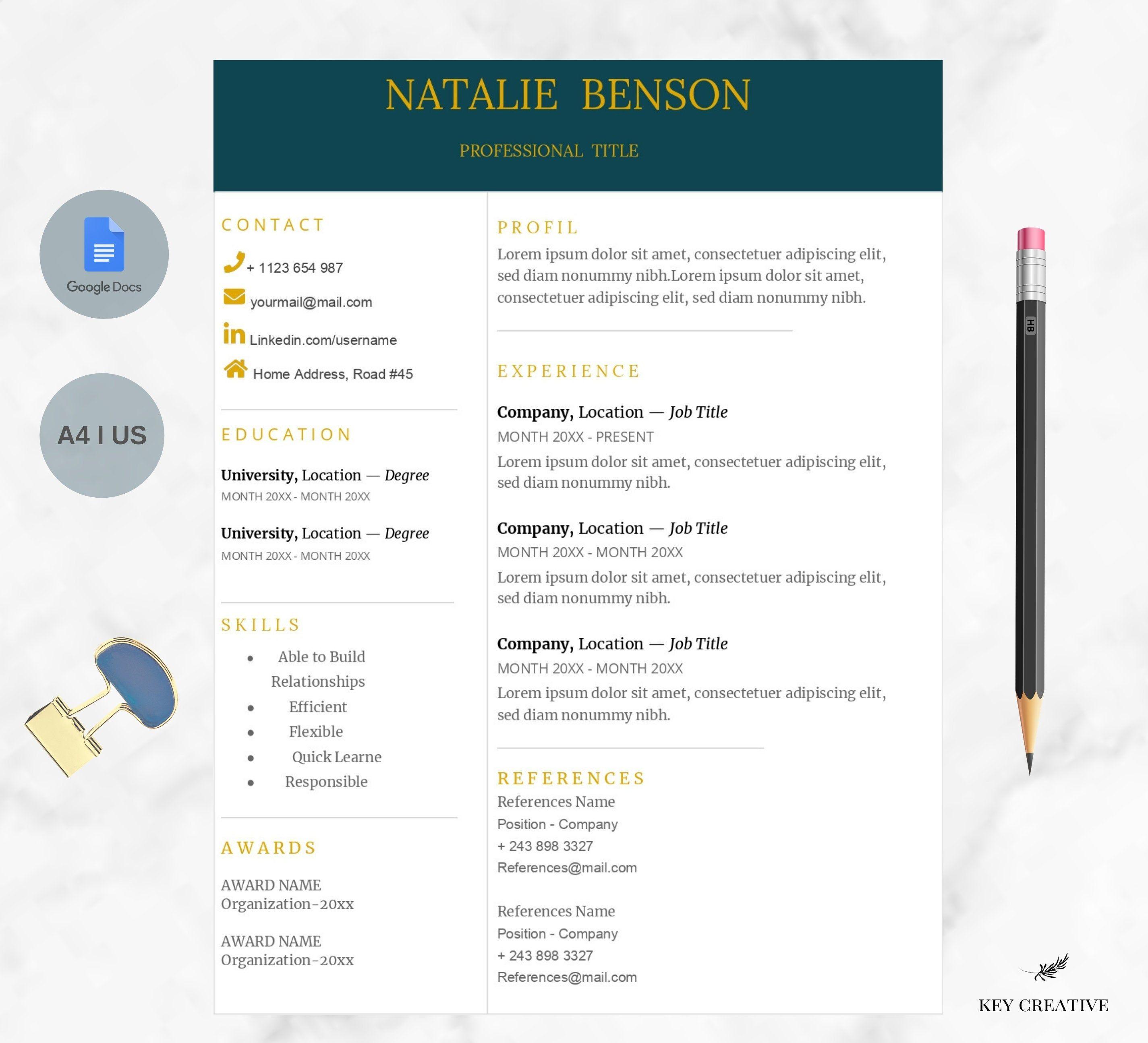 MultiColor Google Docs Resume Template Resume Template