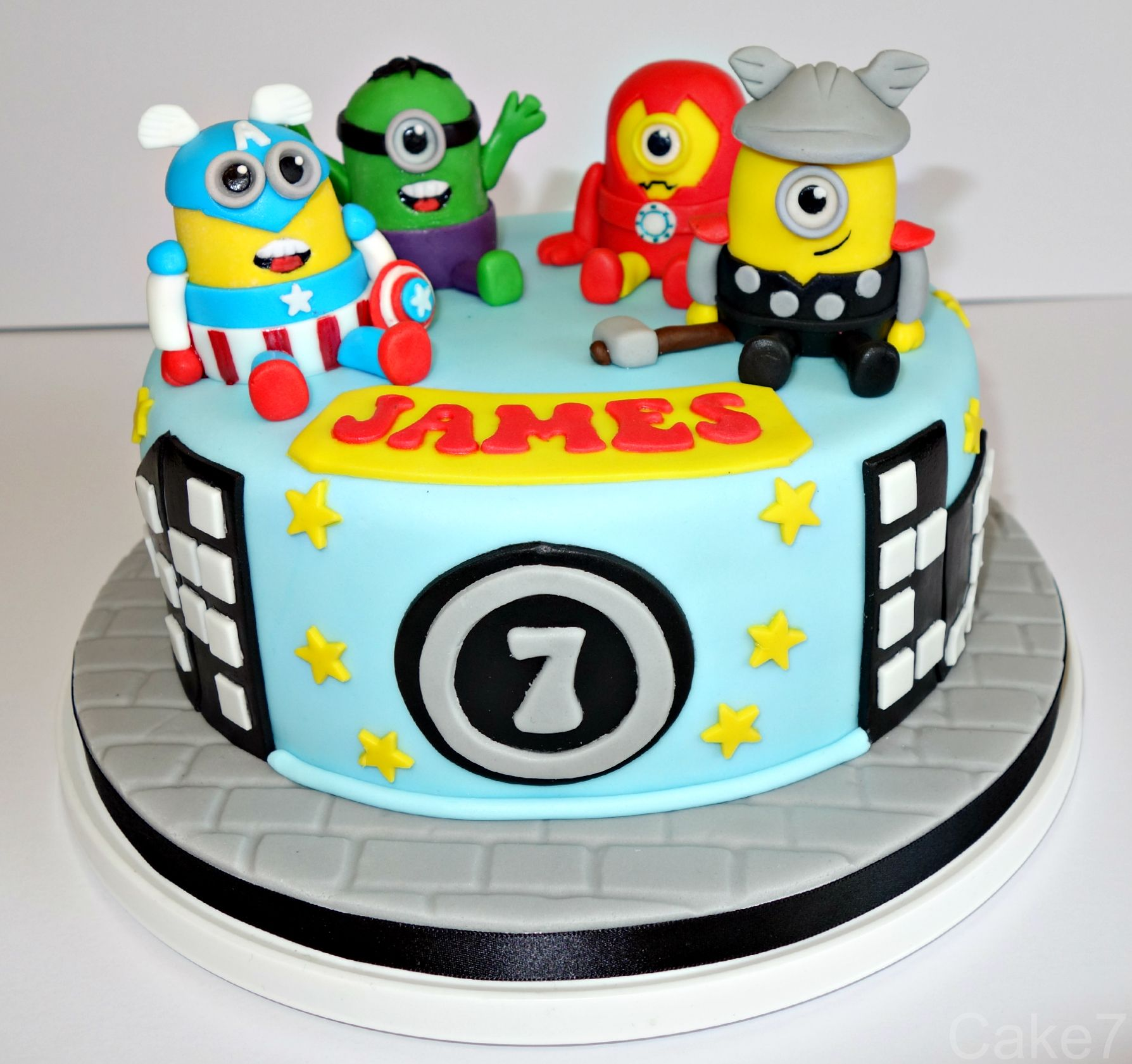 Minions Avengers themed cake wwwcakesevenwix Facebook Cake7