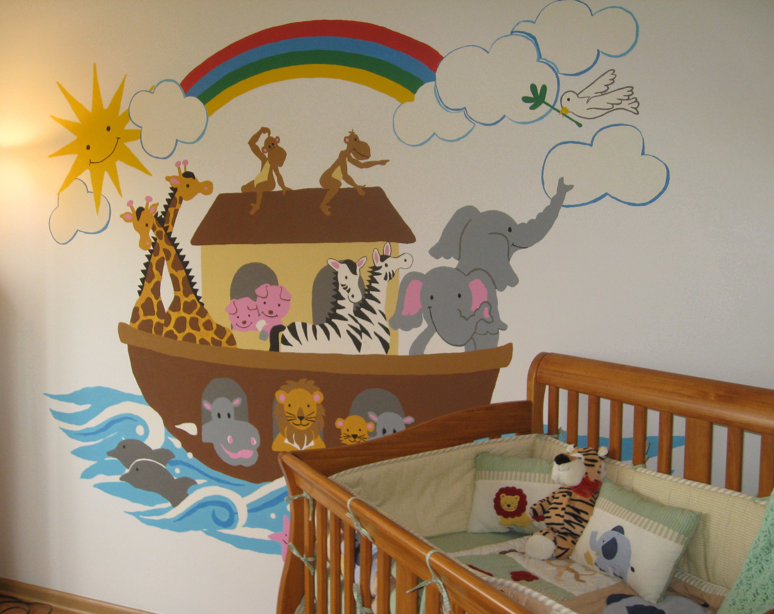 Best Noah S Ark Large Paint By Number Wall Mural Nursery Wall Murals Wall Murals Murals For Kids 400 x 300