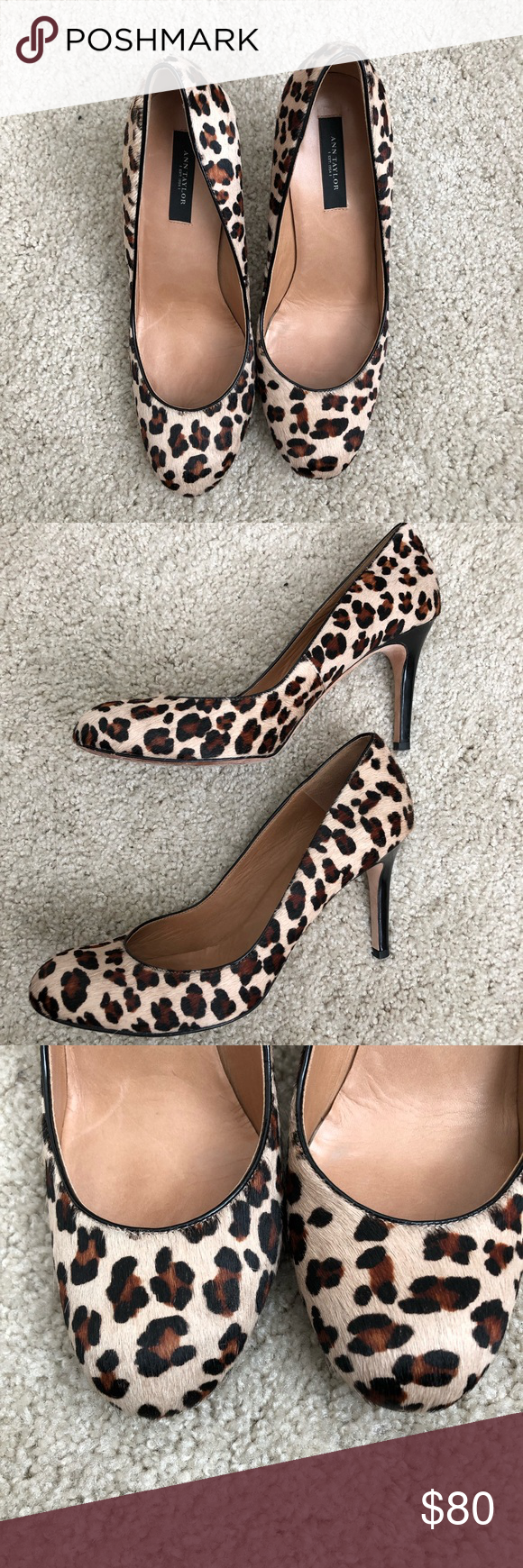28a98fd7712 Ann Taylor Calf Hair Leopard Print Heels SZ. 7.5 Size  7.5 In excellent  condition