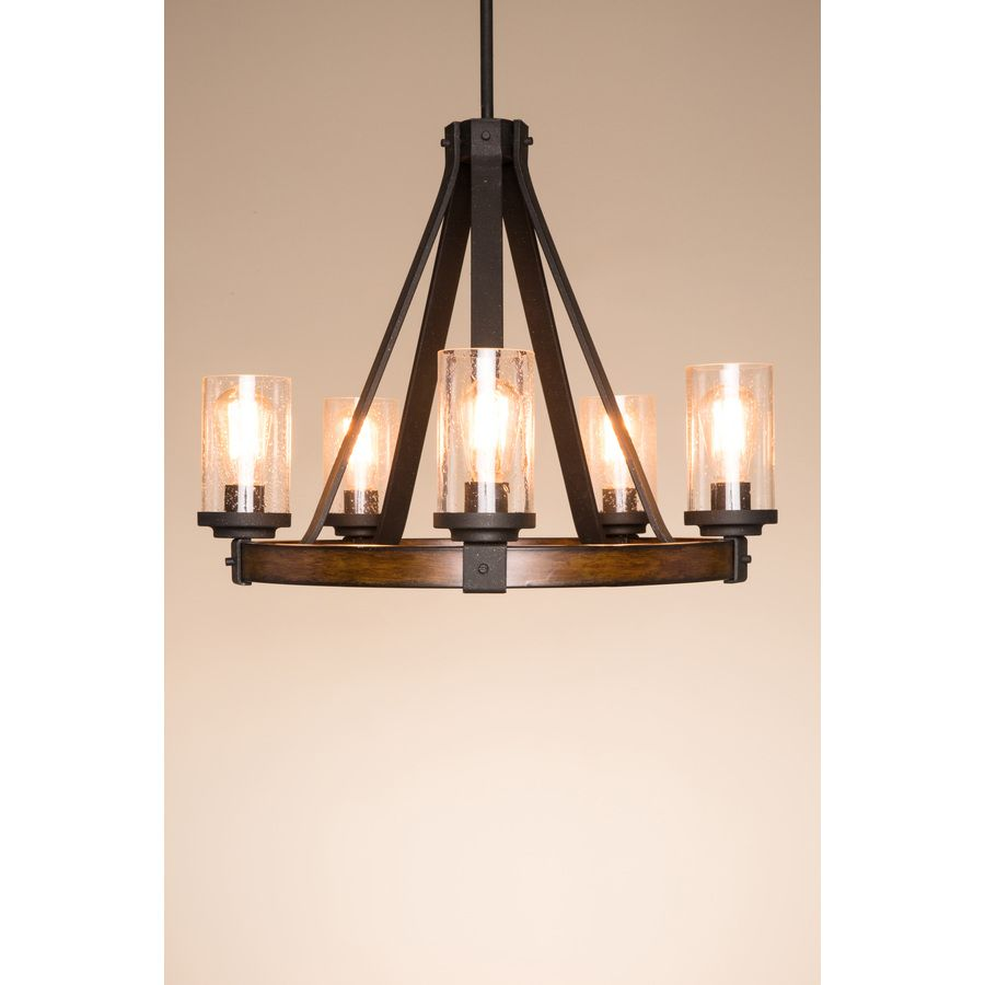 shop kichler lighting barrington 24 02 in 5 light distressed black kichler lighting barrington distressed black and wood rustic clear glass candle chandelier