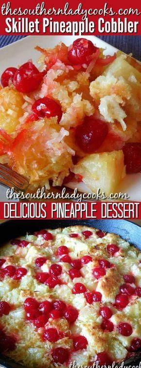 Pineapple cobbler made in an iron skillet makes a great dessert anytime Add some ice cream or whipped cream on top for a delicious treat This cobbler is wonderful with co...