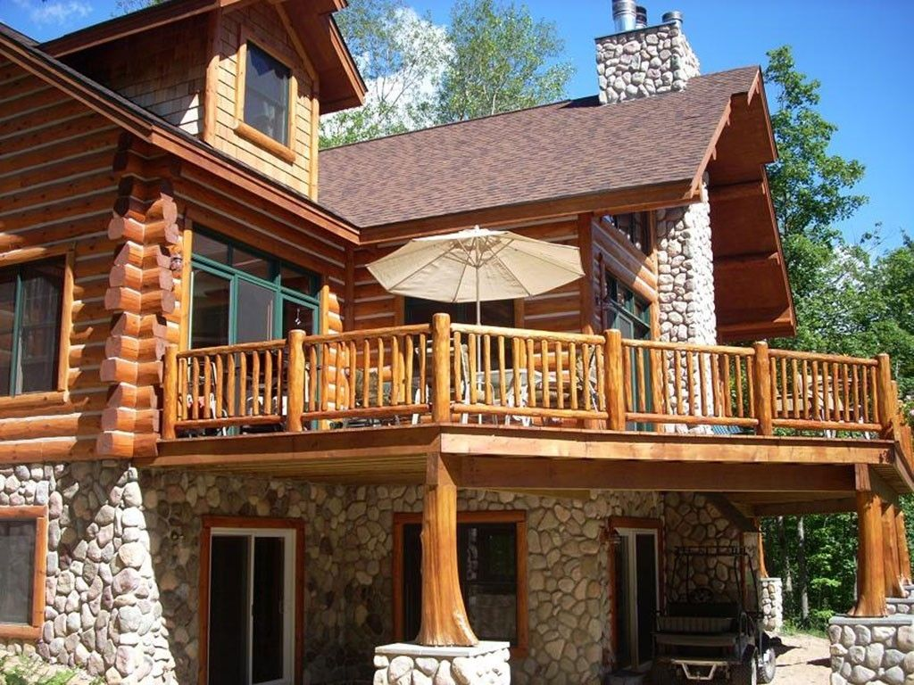 Image result for cedar deck designs log cabin cabin deck for Log home decks