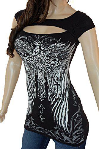 Bling Rhinestone Tattoo Cross Rose Wings Peekaboo Cutout Shoulders New Top (Small, Black Short Sleeve Peekaboo) Abbie Lane http://www.amazon.com/dp/B00TCPCGB0/ref=cm_sw_r_pi_dp_62WOvb11D1PFY