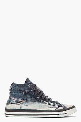 6daecdaa29 Diesel Indigo Distressed Denim Exposure I Sneakers   My style ...