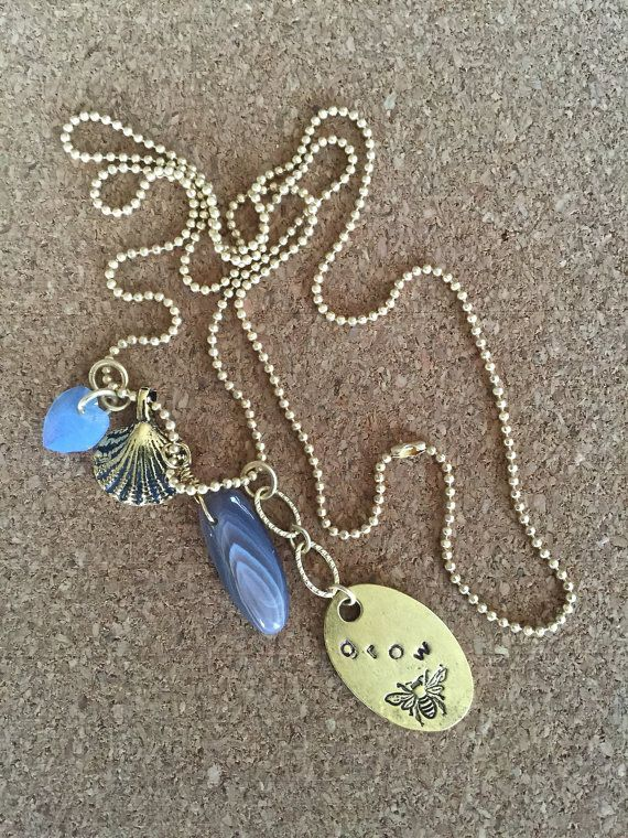 Hand Stamped Agate Charm Necklace Long Satin by adorejules on Etsy