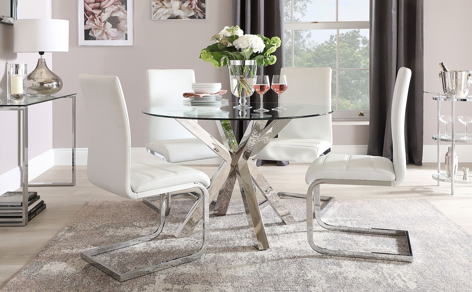 Plaza Round Chrome And Glass Dining Table With 4 Perth White Leather Chairs In 2020 Glass Dining Table Dining Table Chairs Glass Round Dining Table