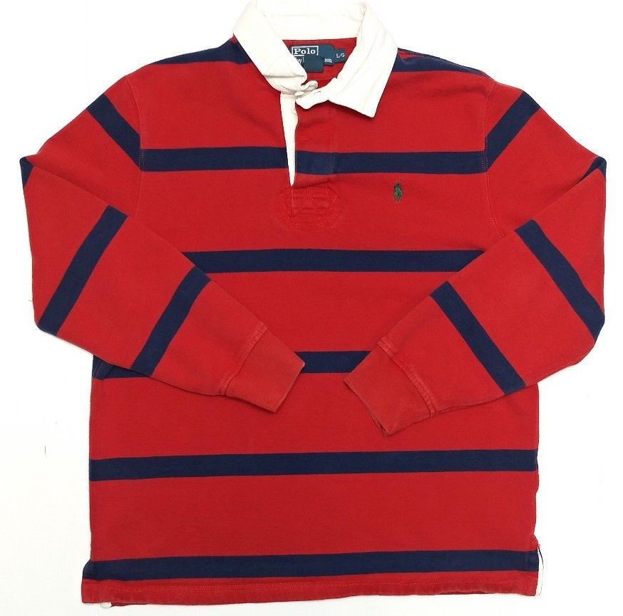 Polo Ralph Lauren Mens Long Sleeve Rugby Shirt L Large Red Blue Cotton Pony  Logo #