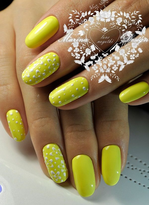 45 Yellow Nail Art Designs | Yellow nails, Yellow nail art and ...