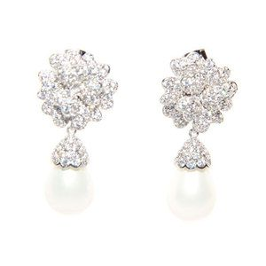 Silver Pearl Drop Earrings -encrusted with Cubic Zirconia crystals.