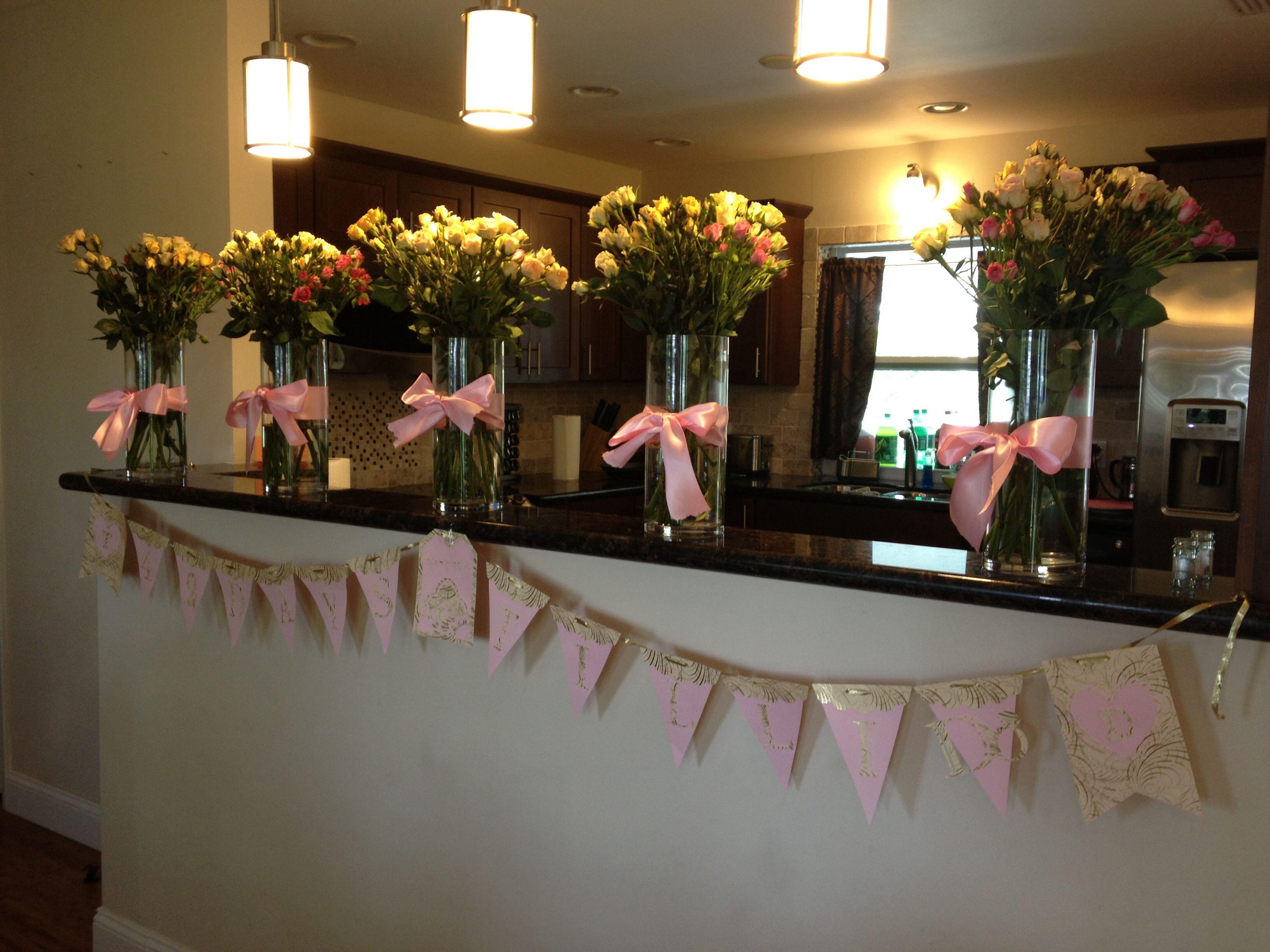 Pink gold bridal shower banner cricut pretty pendants