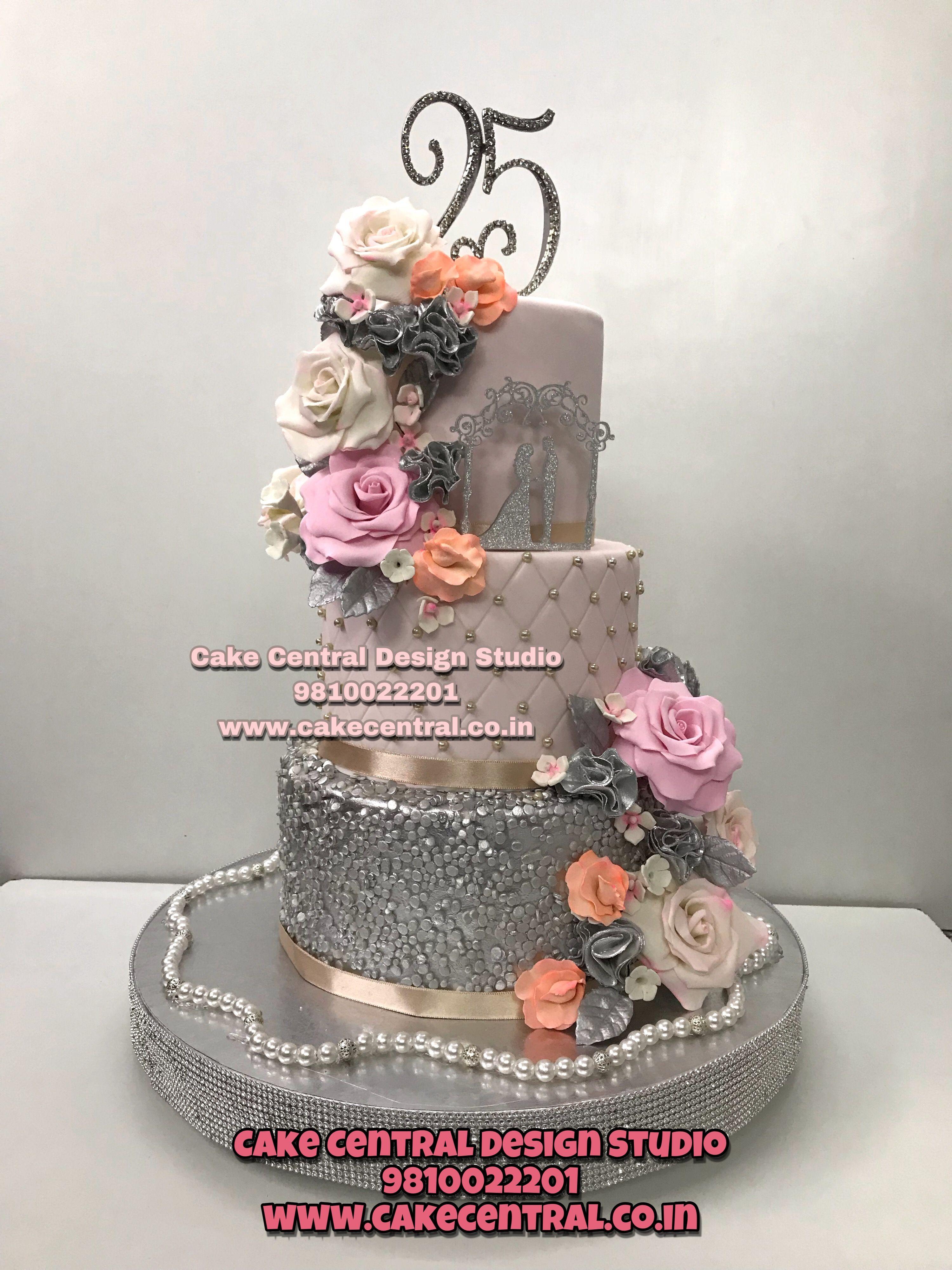 Beautiful 25th Wedding Anniversary Designs Customised Cake
