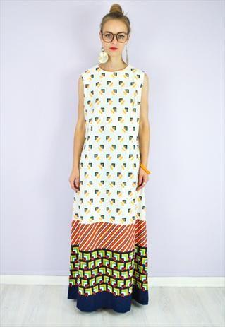 70's Vintage Maxi Dress in Geometric Print