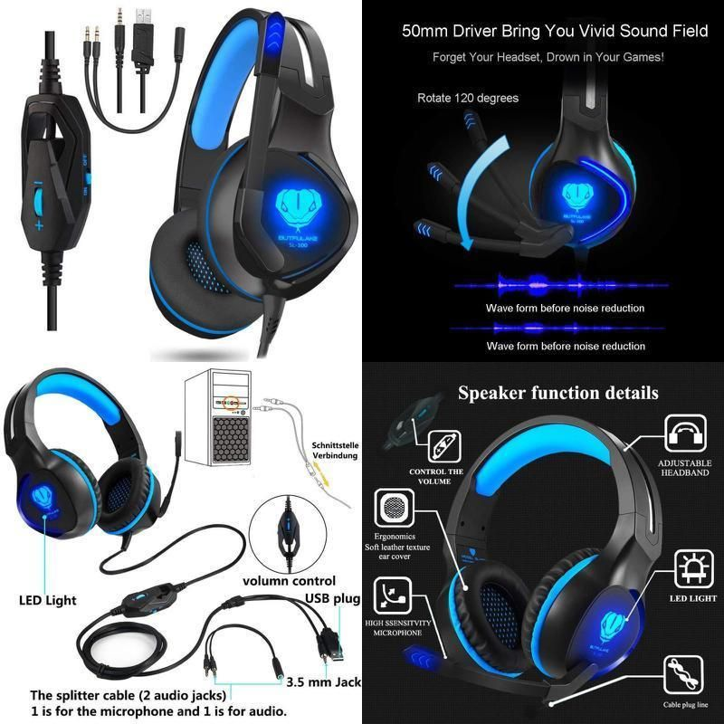 Stereo GAMING Headset for PS4 PC Xbox One Games Gamer& Over EAR
