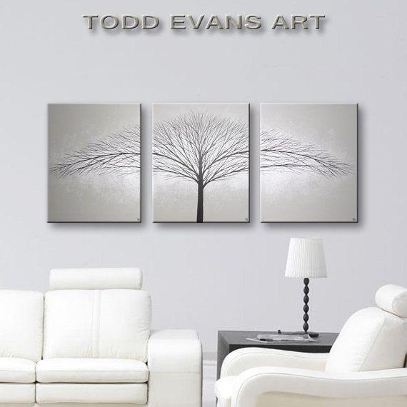 Three Piece Wall Art Set of 3 Canvas Tree Painting Bedroom Wall ...