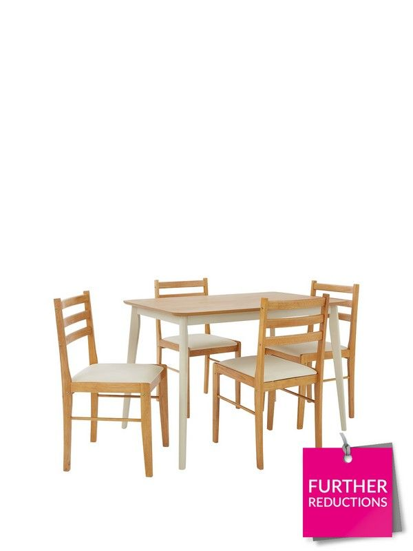 This great value Dining Set comprises the Ellen 114 cm Table plus 4 Chairs  Brilliantly priced 8403ebfa2
