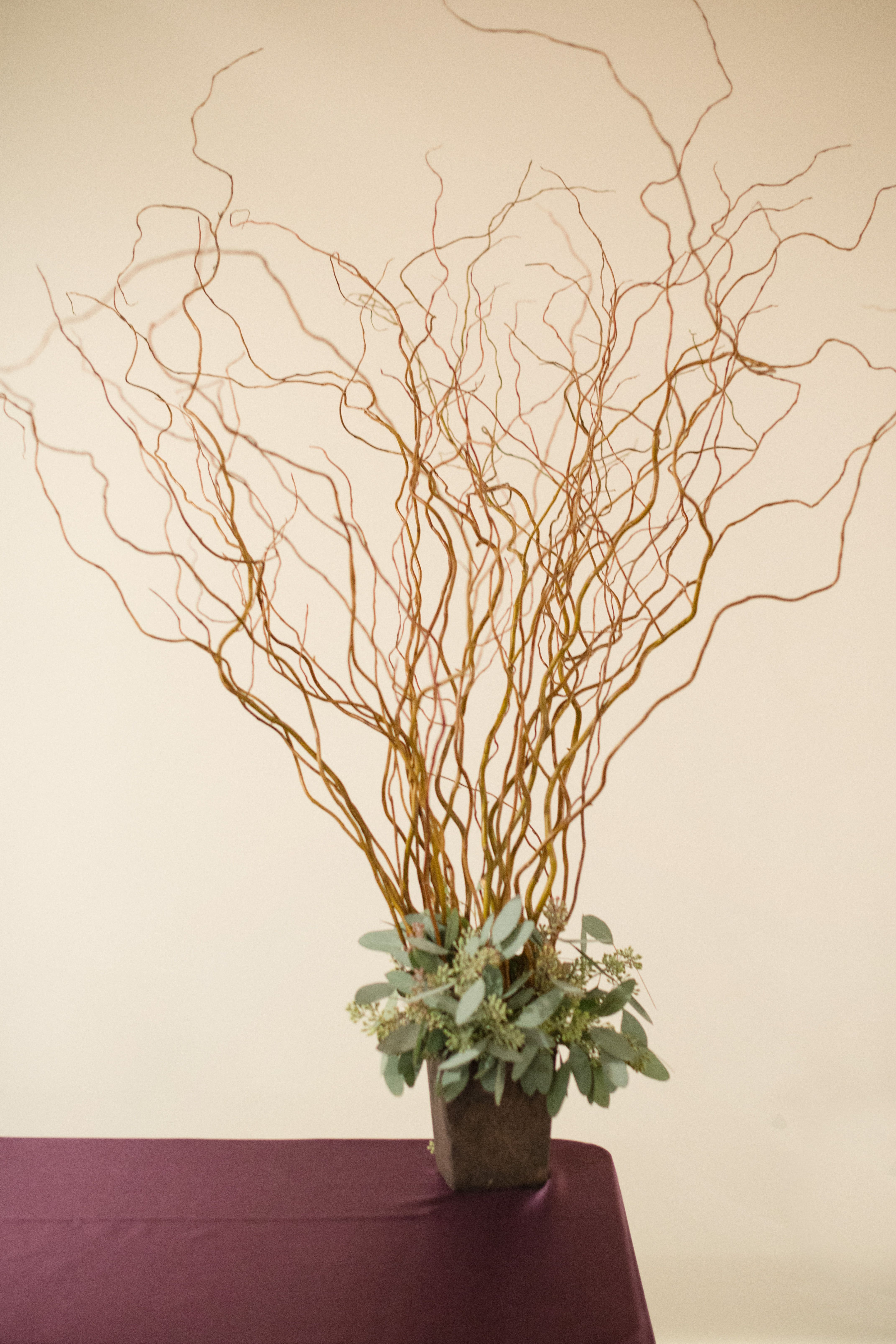 curly willow and seeded eucalyptus