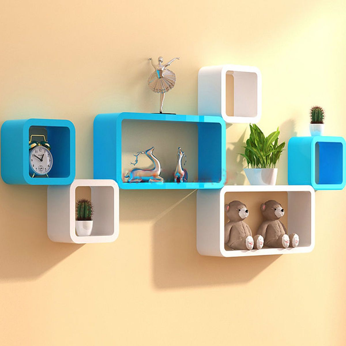 Wall Shelves Cube Shelf White Wooden Book Storage Home Decor Ledge ...