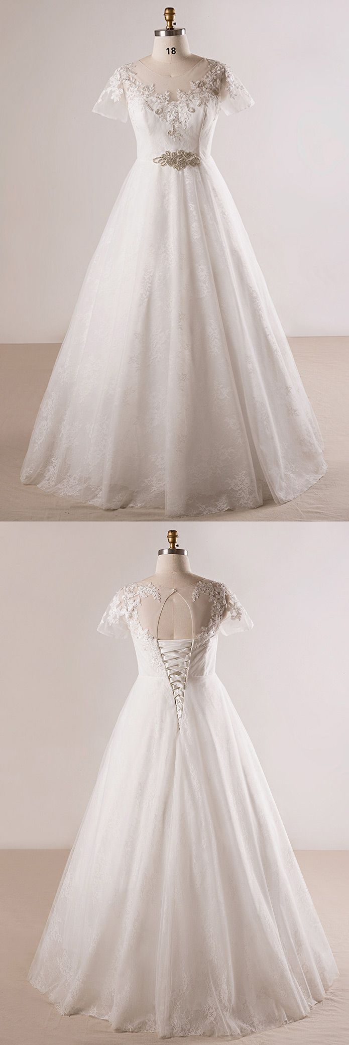 Plus size beaded lace aline wedding dress with short sleeves mn