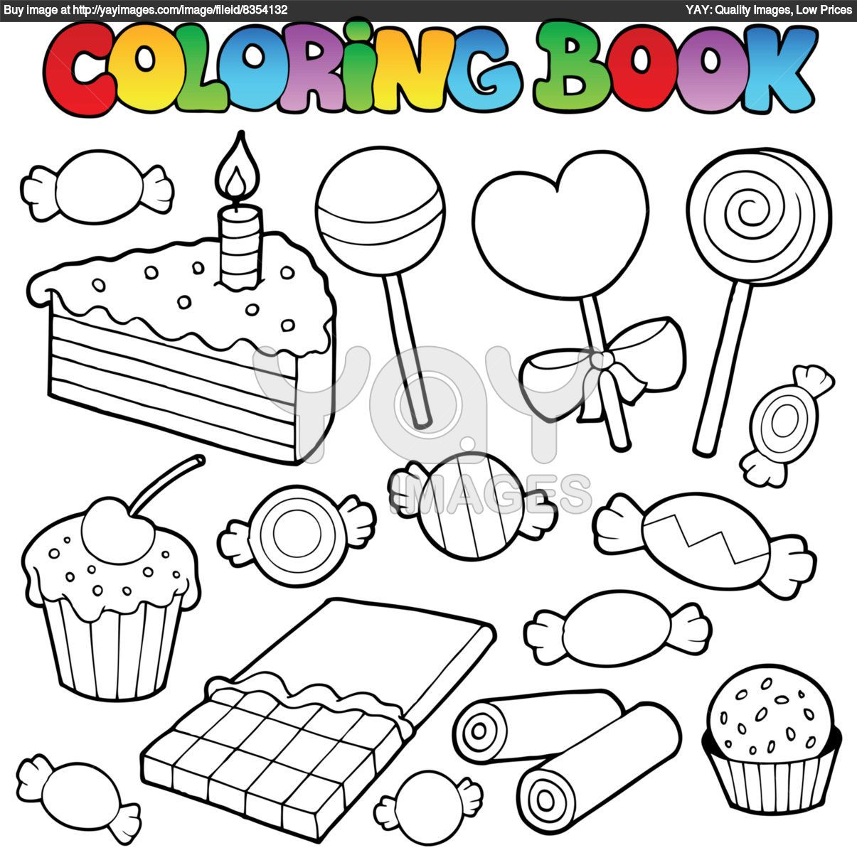Royalty Free Vector Of Coloring Book Candy And Cakes Candy Coloring Pages Coloring Books Cupcake Coloring Pages