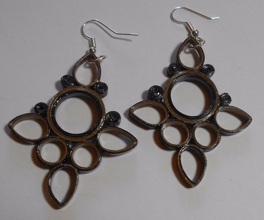 Bronze Metalic handmade paper earrings Wearable Paper art #Handmade