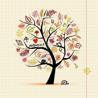 Herbst Baum Skizze Zeichnung Fur Ihre Konstruktion Zen Art