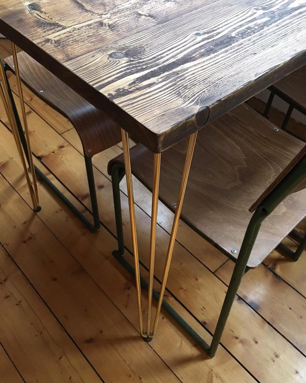 Reclaimed Wood Dining Table With Gold Hairpin Legs Reclaimed Wood Dining Table Wood Dining Table Reclaimed Wood Furniture