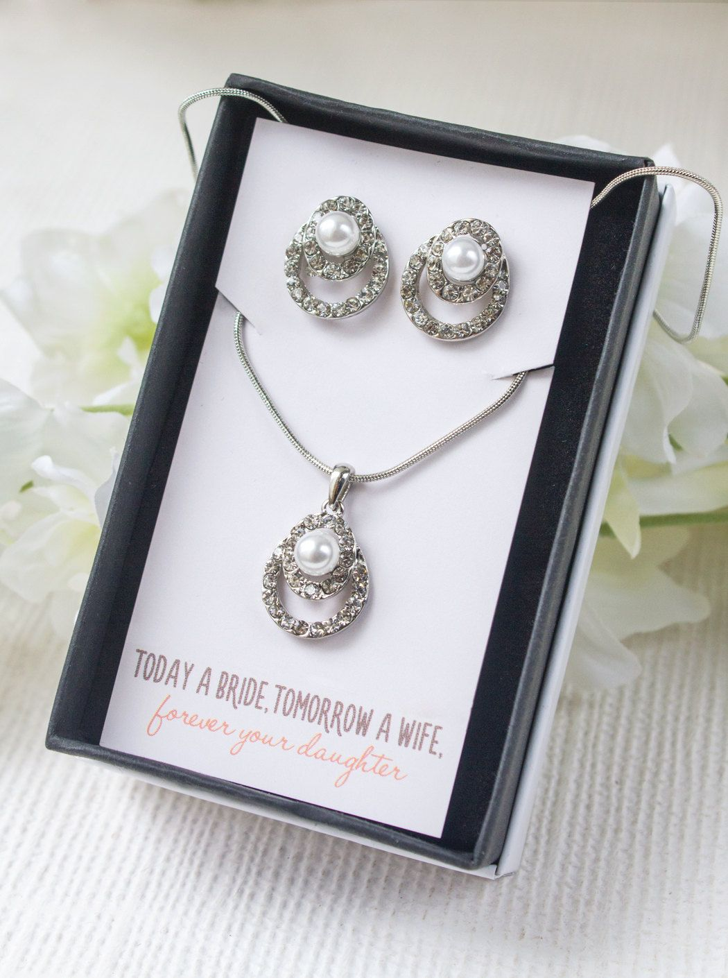 Mother of the Bride Gift, Mother of the Bride Necklace, Personalized Bridesmaid Gift, Bridesmaid Jewelry Set, Bridesmaid Necklace Set, N513 by AMYOBridal on Etsy https://www.etsy.com/listing/229452672/mother-of-the-bride-gift-mother-of-the