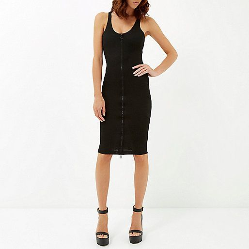 Black zip front sporty bodycon dress