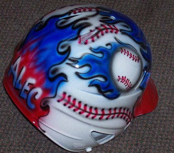Airbrushed Baseball Batting Helmet Flaming Baseball Etsy Batting Helmet Softball Helmet Baseball Helmet