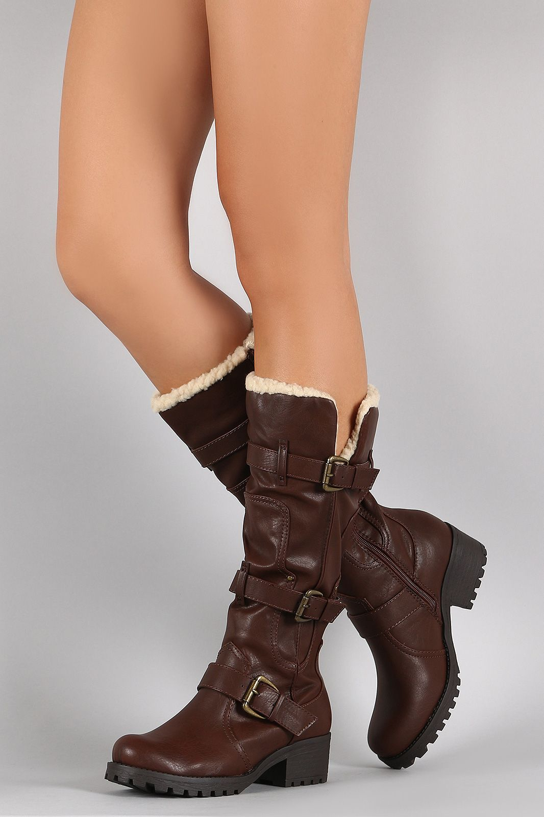 Free SH & Easy Returns! Shop Bamboo Buckled Strap Knee High Boots. These boots feature a round toe, triple buckles strap detail, and low block heel.