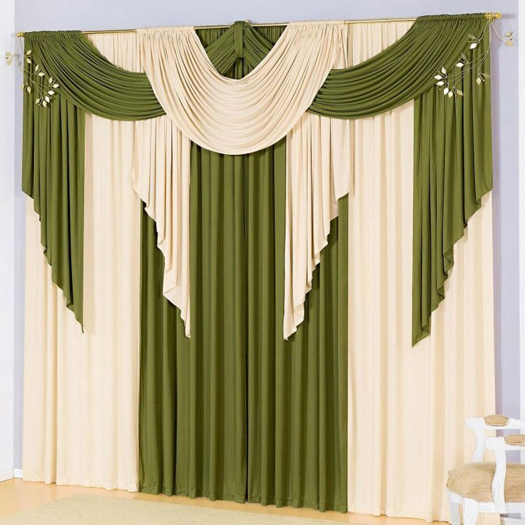 Cortinas para Sala con Galeras Verde Beautiful