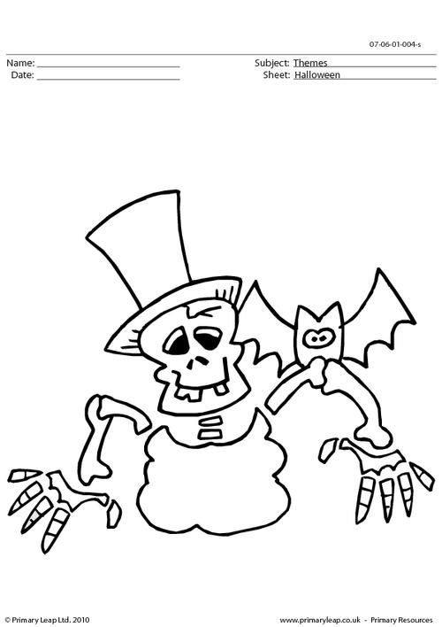 PrimaryLeap.co.uk Halloween colouring picture skeleton