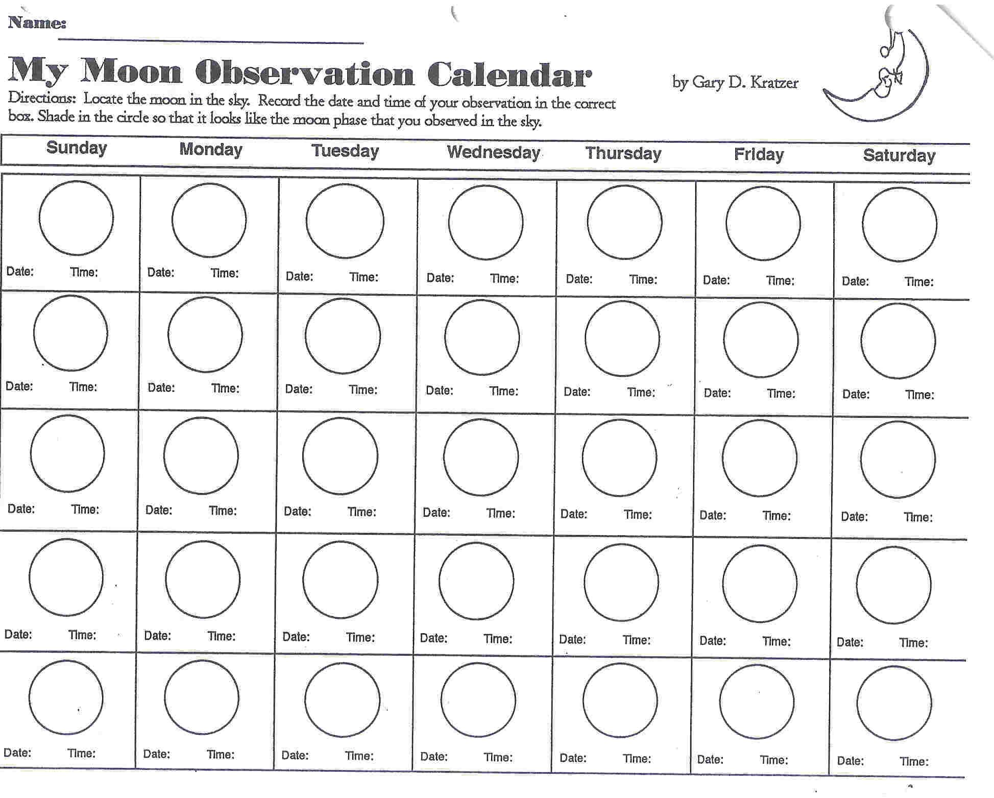 Moonobservationcalendar