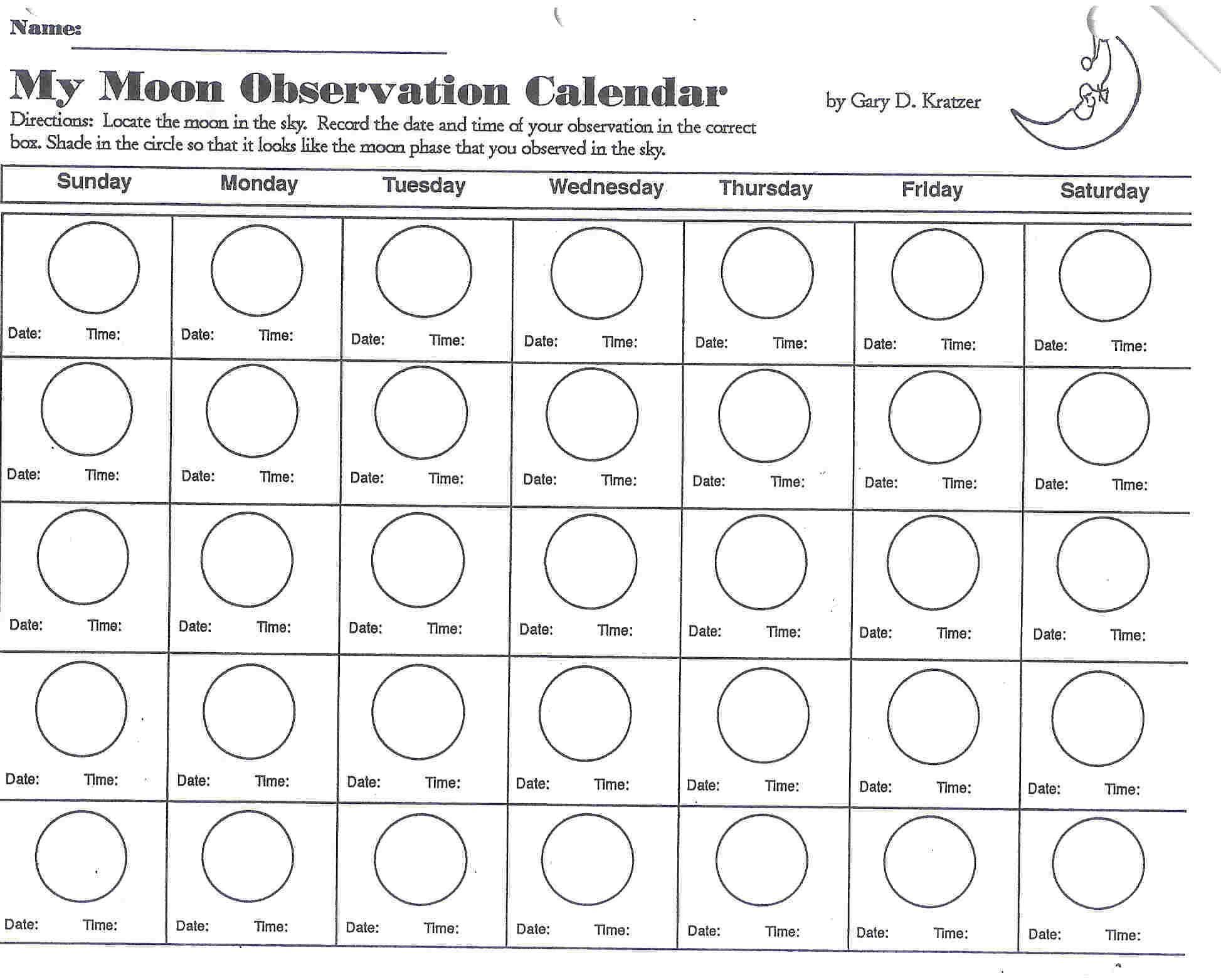 Moonobservationcalendar