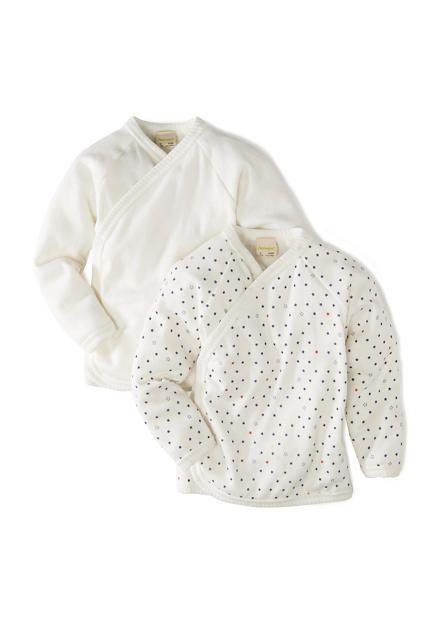 57e8ed465d40 Langarm Wickelhemd aus reiner Bio-Baumwolle 2er-Set
