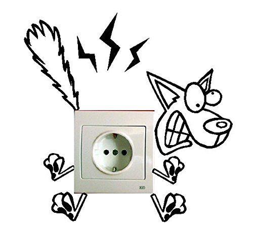 Pegatina De Perro Electrocutado Para Enchufe Pegatinas De Pared Pinturas De Pared Decorativas Etiqueta De La Pared